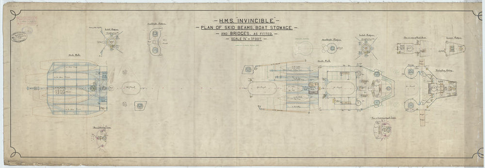 Skid beams, bridges plan for HMS Invincible (1907)