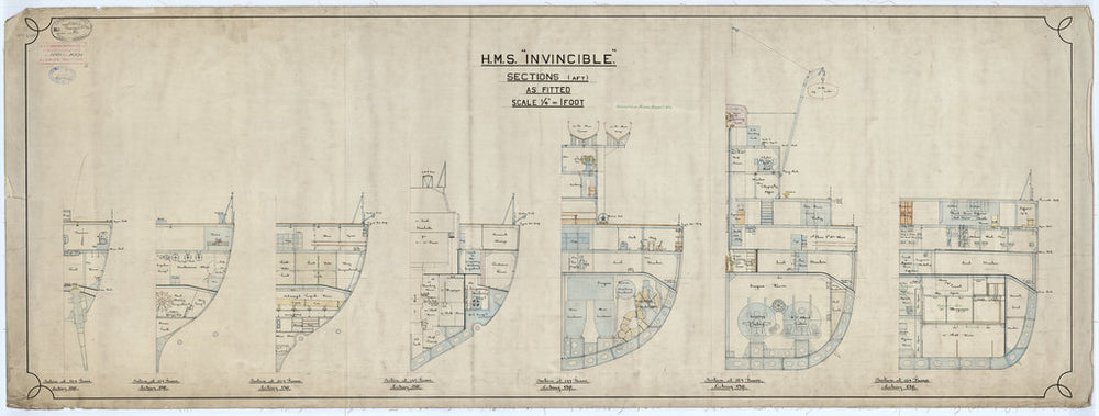 Aft sections plan for HMS Invincible (1907)
