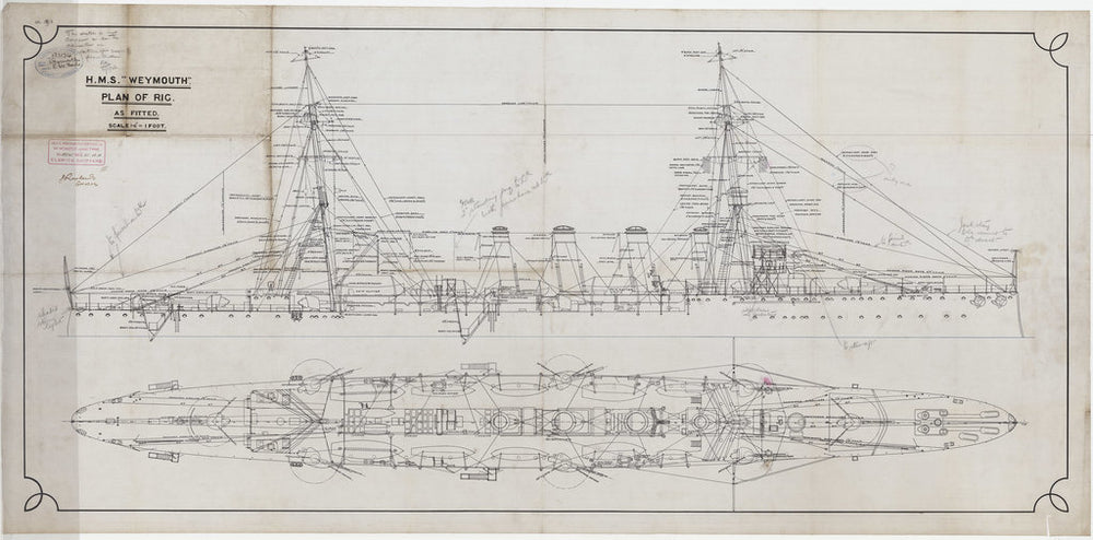 Rig profile & plan of HMS Weymouth (1910)