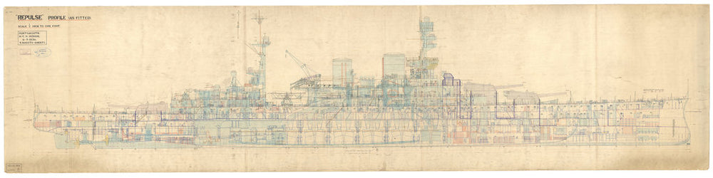 Profile plan for HMS Repulse (1916)