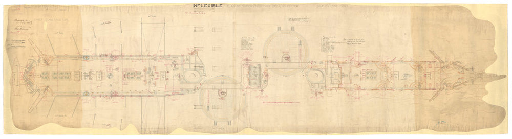Superstructure deck plan for Inflexible (1876)
