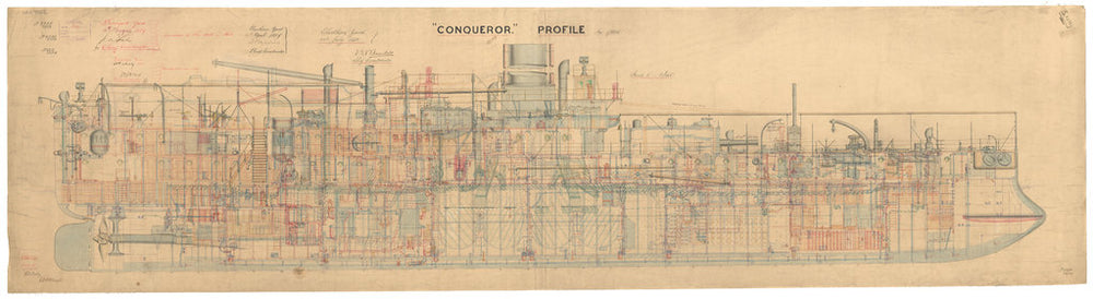 Inboard profile plan for Conqueror (1881)