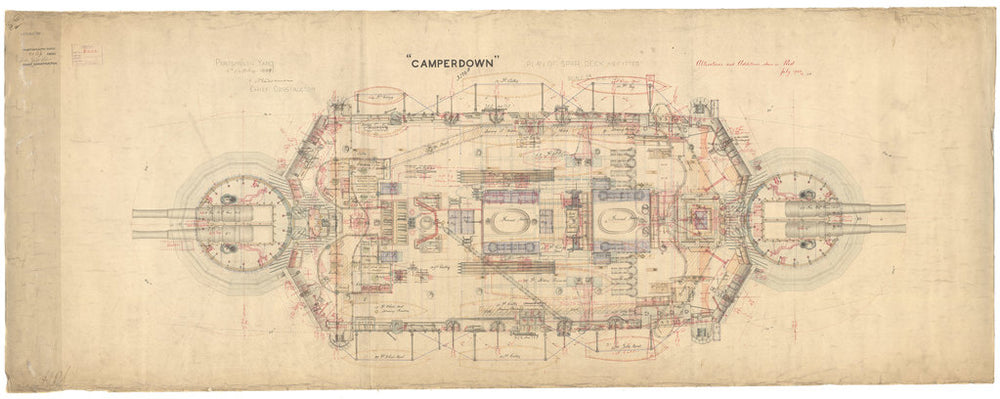 Spar deck plan for Camperdown (1885)