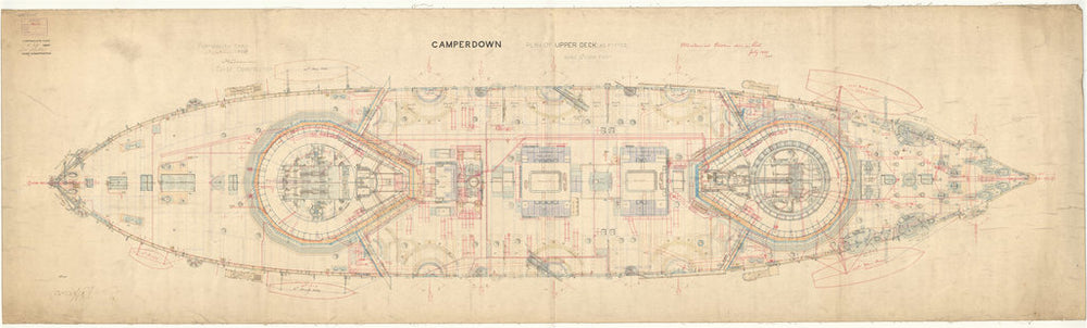 Upper deck plan for Camperdown (1885)
