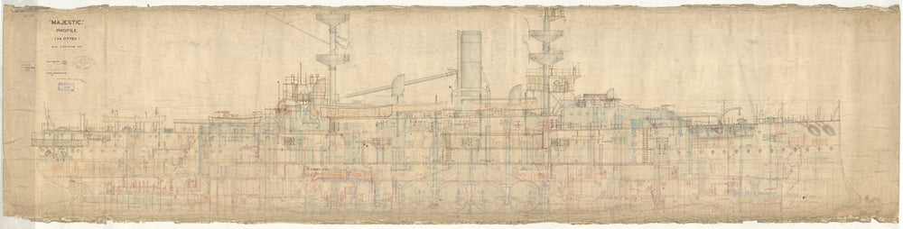 Inboard profile plan for Majestic (1895)
