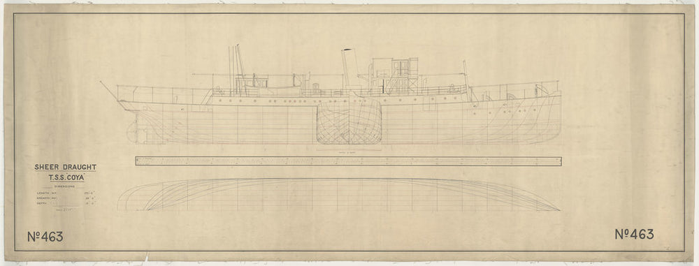 Lines and profile plan with outboard detail for passenger/cargo steamer Coya (1892)