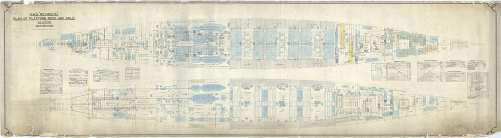 Platform deck & hold plan for HMS Weymouth (1910)
