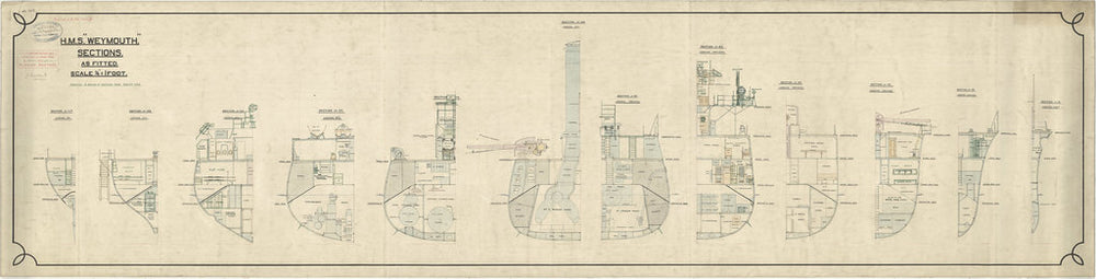 Sections plan for HMS Weymouth (1910)