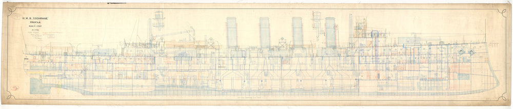 Inboard profile plan for HMS Cochrane (1905)