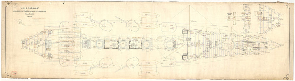 Forecastle deck plan for HMS Cochrane (1905)