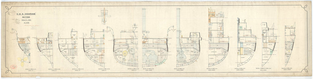 Aft section plan for HMS Cochrane (1905)