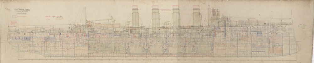 Inboard profile plans of HMS Black Prince (1904)