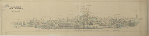 Inboard profile plan of HMS Clyde (1934), as fitted 1935