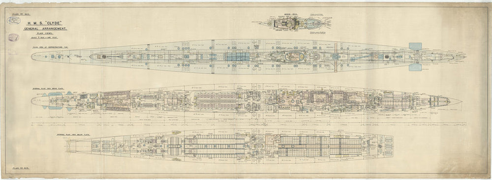 General arrangement decks plan for HMS Clyde (1934)