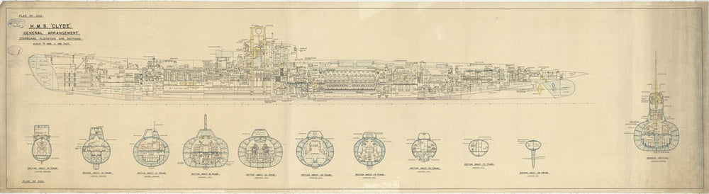 Inboard profile and sections plan for HMS Clyde (1934)