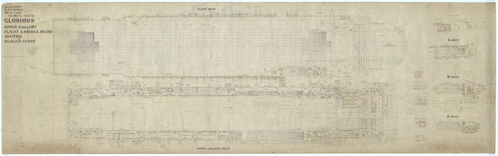 Flight deck plan of HMS Glorious (1916)