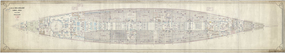 Lower deck plan of HMS New Zealand (1911), as fitted 1913