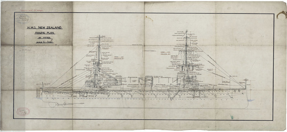 Rigging plan of HMS New Zealand (1911), as fitted 1913