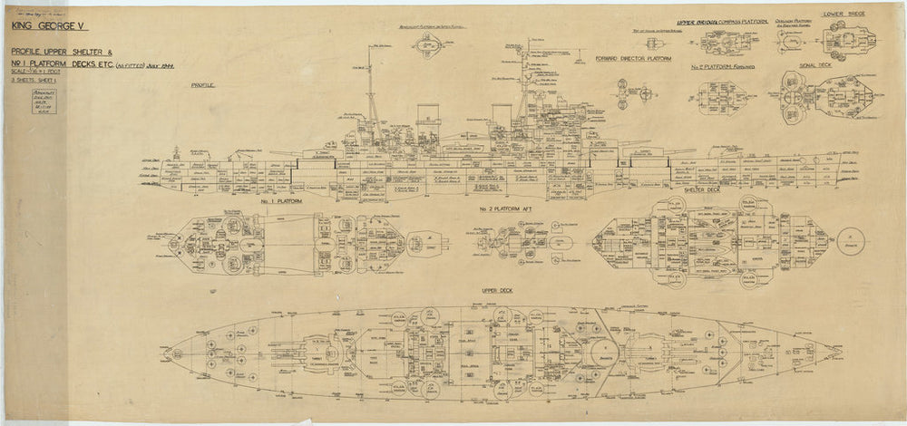 Inboard profile, upper shelter and decks plan for King George V (1939)