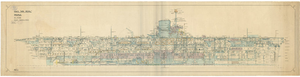 Inboard profile plan of HMS Ark Royal (1937)
