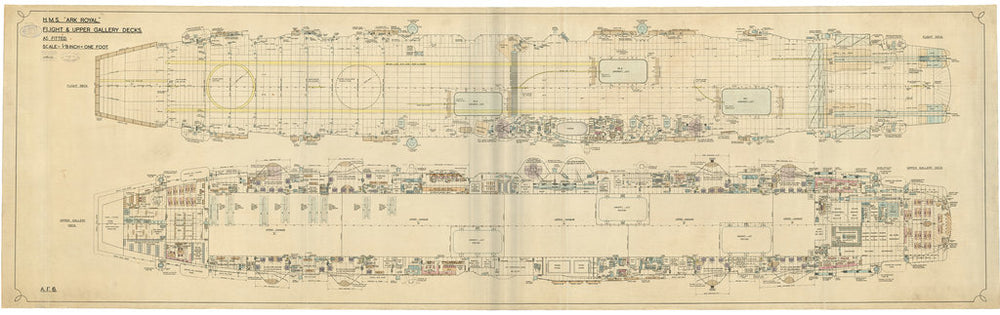 Flight and upper gallery deck plan of HMS Ark Royal (1937)
