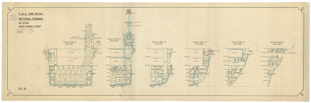 Sections plan for HMS Ark Royal (1937)