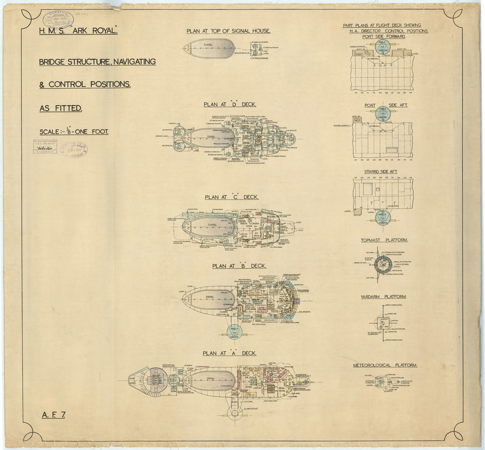 Island superstructure plan of HMS Ark Royal (1937)