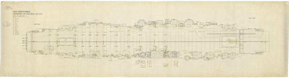 Flight deck plan of HMS Indefatigable (1942)