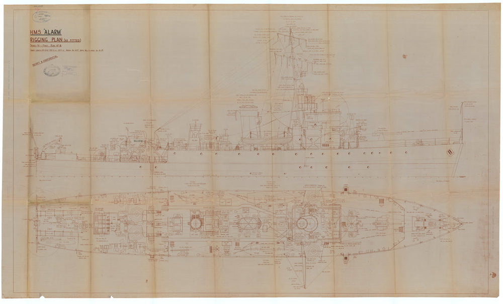 Rigging plan of HMS Alarm (1942), as fitted