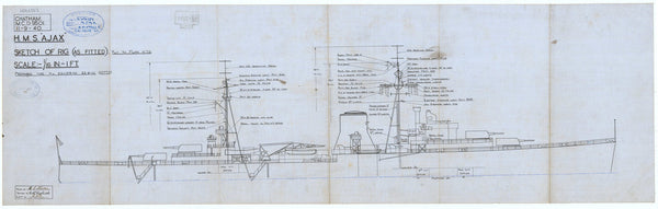 Sketch of rig (as fitted) for HMS Ajax (1934)