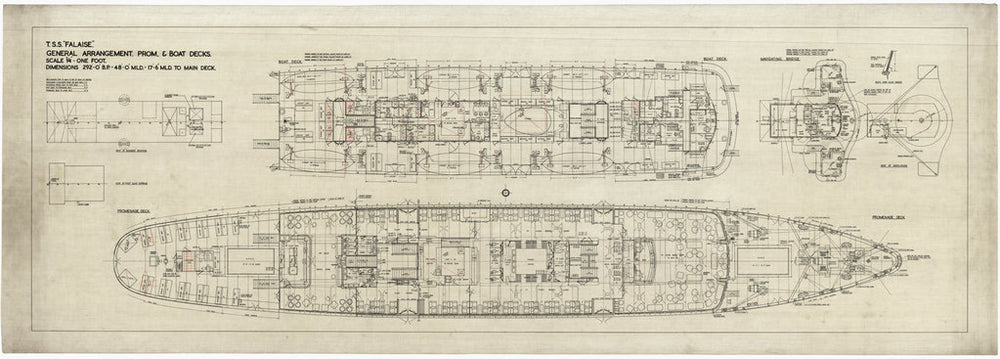 General arrangement. Promenade and boat decks plans of the cross channel passenger steamer T.S.S. 'Falaise' (1946)