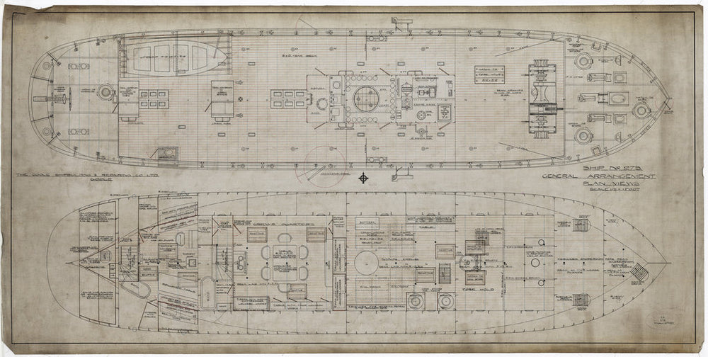 General arrangement plan views, decks as designed for Spurn Lightvessel No. 12 (1927)