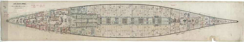 Lower deck plan for HMS 'Black Prince' (1904)