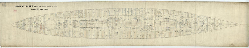 Main deck plan for HMS 'Indefatigable' (1909)