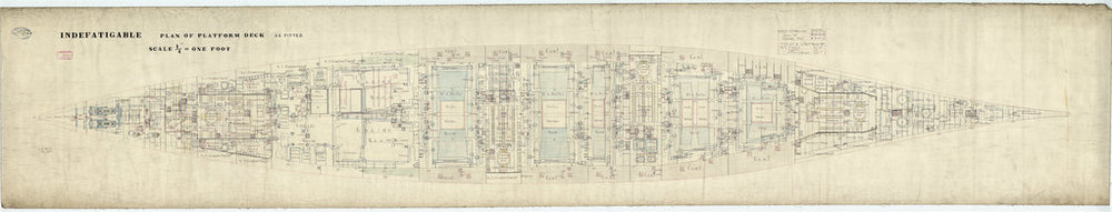 Platform deck plan for HMS 'Indefatigable' (1909)
