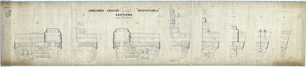 Sections plan for HMS 'Indefatigable' (1909)