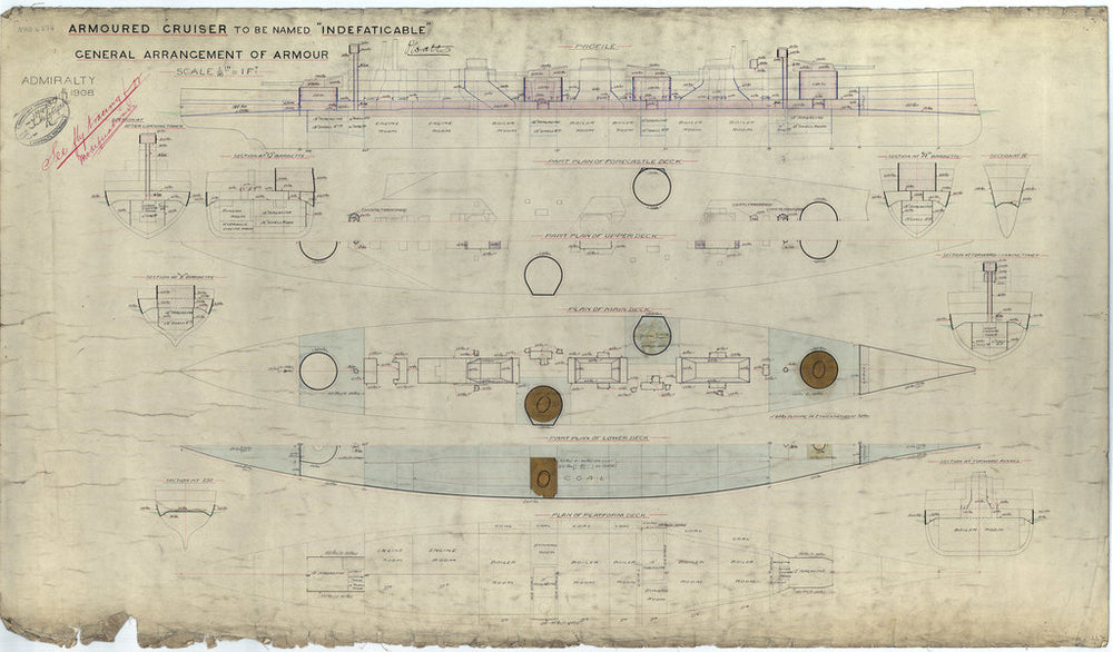Armour general arrangement plan for HMS 'Indefatigable' (1909)
