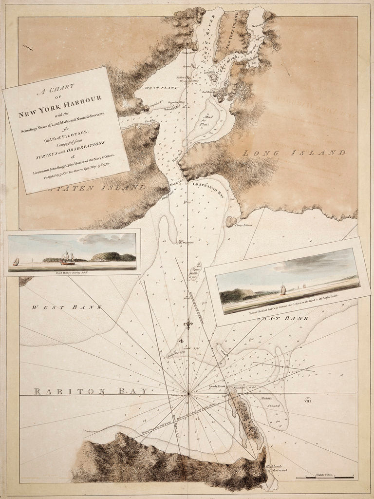 Detail of A chart of New York Harbour with the soundings views of land marks and nautical directions for the use of pilotage. Composed from surveys and observations of Lieutenants John Knight John Hunter of the Navy and others. by J. F. W. Des Barres