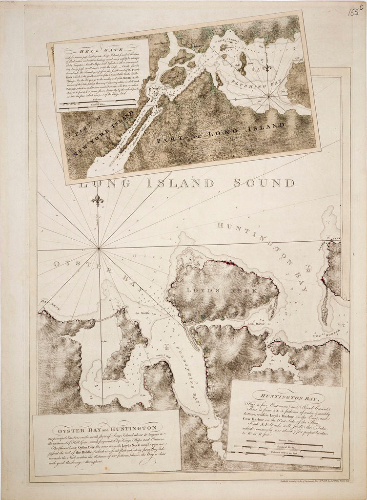 Detail of Chart of Oyster Bay and Huntington Bay, Long Island Sound by Joseph Frederick Wallet Des Barres