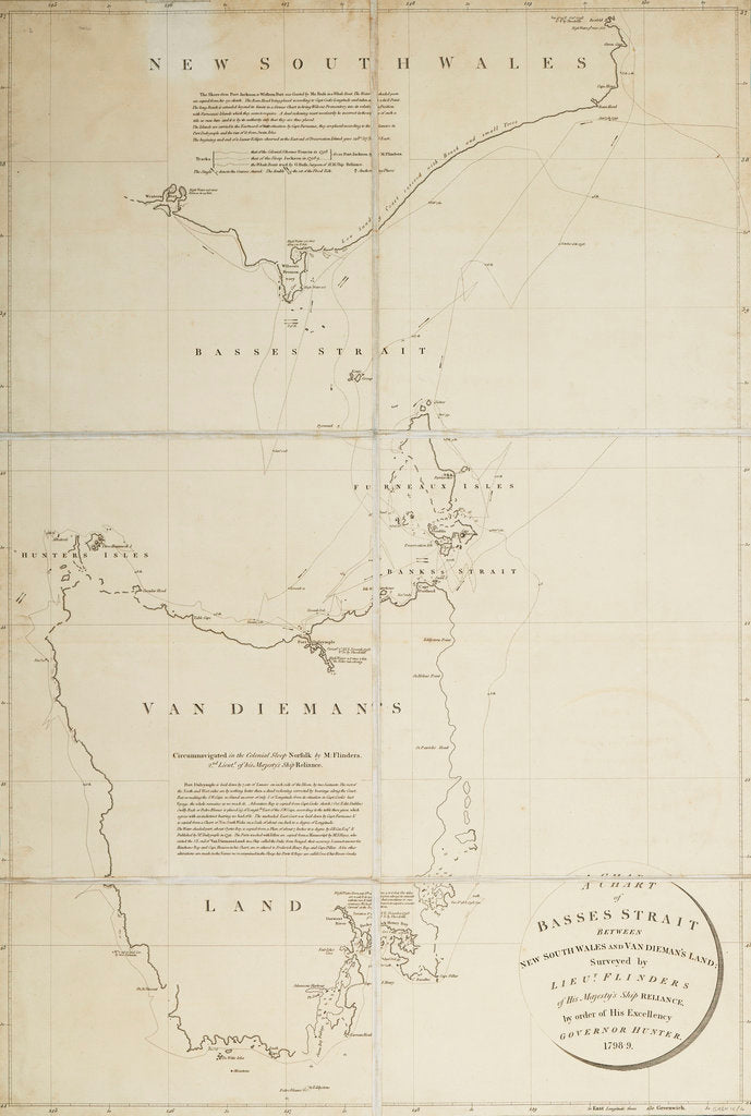 Detail of A chart of Basses Straight between New South Wales and Van Diemans Land surveyed by Lieut. Flinders of HMS 'Reliance', by order of ... Governor Hunter, 1798-9 by Matthew Flinders