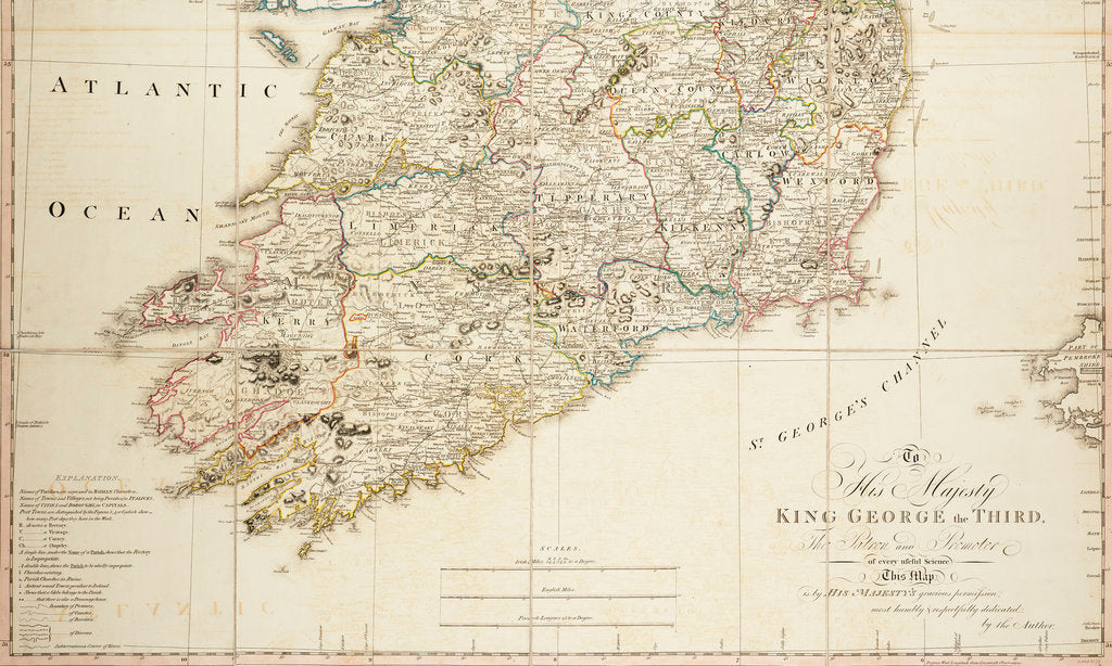 Detail of A new map of Ireland civil and ecclesiastical, 1797 by Daniel A. Beaufort