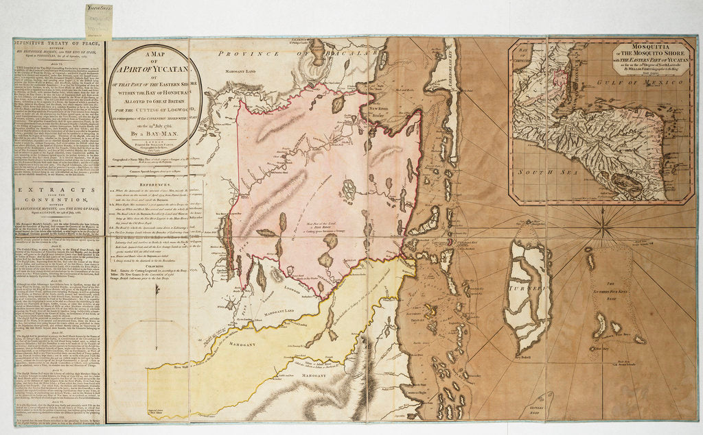 A map of a part of Yucatan or of that part of the eastern shore within the Bay of Honduras alloted [sic] to Great Britain for the cutting of logwood, in consequence of the convention signed with Spain on the 14th July 1786. By a Bay Man. by William Faden
