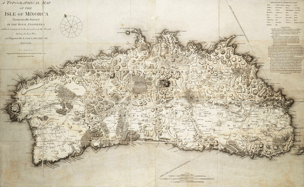 Detail of Map of Minorca, 1780 by L. S. de la Rochette