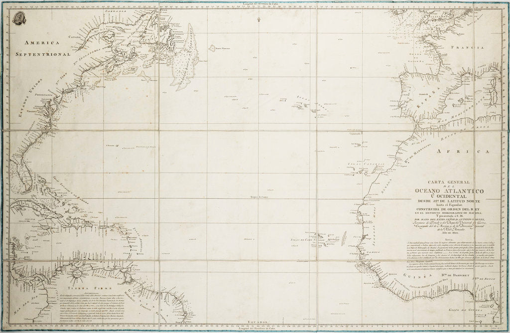 Detail of A general chart of the Atlantic Ocean north of the Equator by Deposito Hidrografico