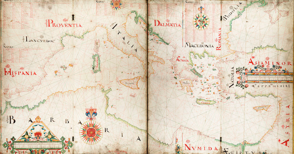 Detail of Chart of Mediterranean, Black and Caspian seas by John Burston