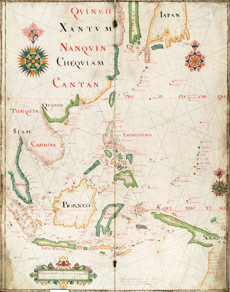 Detail of Map of the East Indies, 1665 by Nicholas Comberford