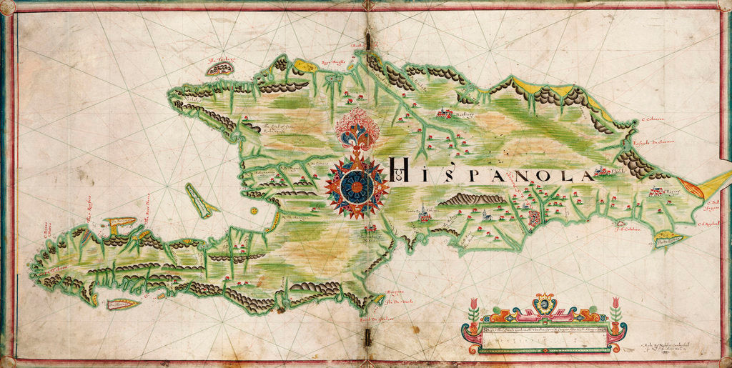 Detail of Map of Hispaniola, 1653 by Nicholas Comberford
