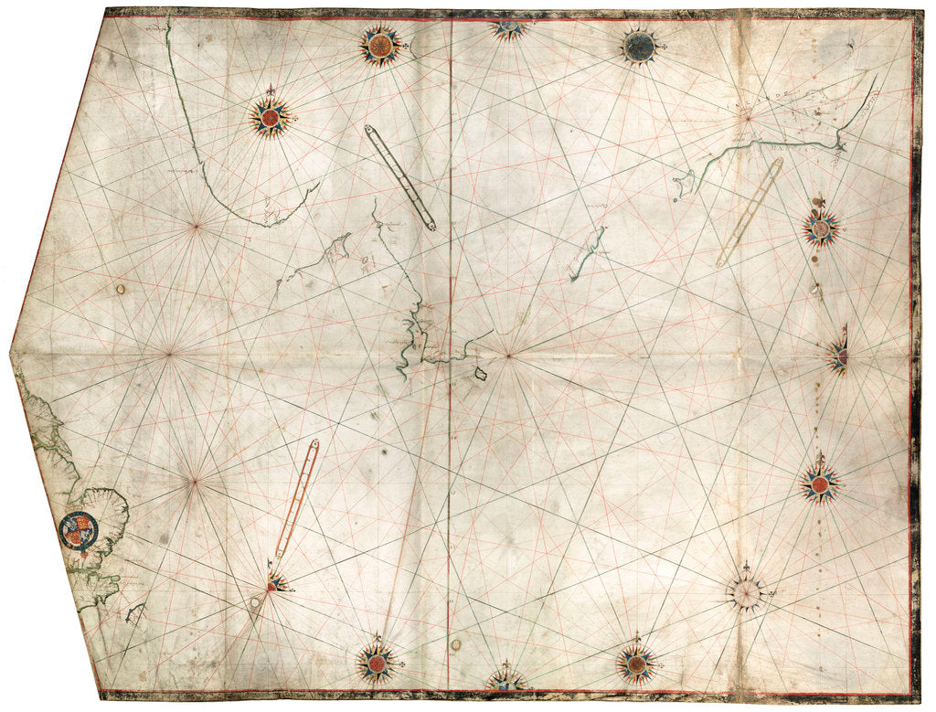 Detail of Portulan chart constructed by William Borough showing the sea area of the North Sea and Baltic, from the east coast of England to the head of the Gulf of Sweden, circa 1580 by William Borough