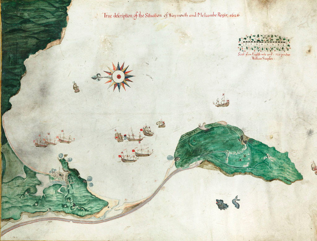 Detail of Chart 'A true description of the situation of Weymouth and Melcombe Regis', 1626 by William Simpson