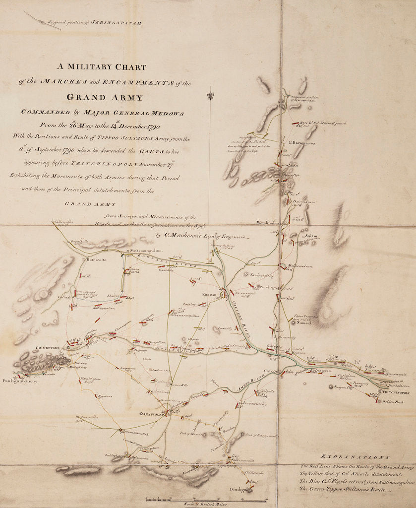 Detail of A military chart of the marches and encampments of the grand army commanded by Major General Medows from the 26th May to the 14th December 1790 by C. Mackenzie